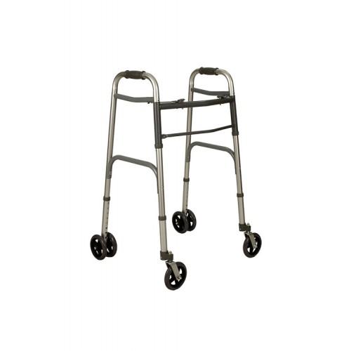 deambulatore fisso pieghevole con due ruote grandi